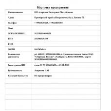 Карточка Предприятия - Расширенный Отчет для Тирика-Магазин