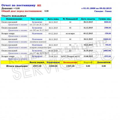 Отчет по поставщику (Оплаты накладных)  - Расширенный Отчет для Тирика-Магазин