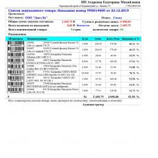 Список Закупленного товара (с процентами)  - Расширенный Отчет для Тирика-Магазин